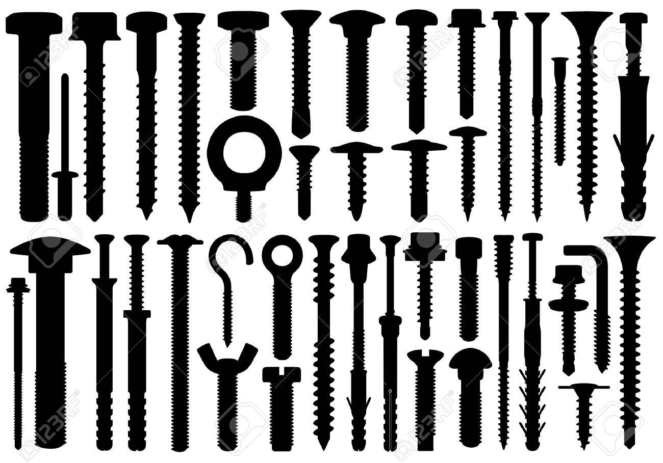 Set of different screws isolated on white - 24186855