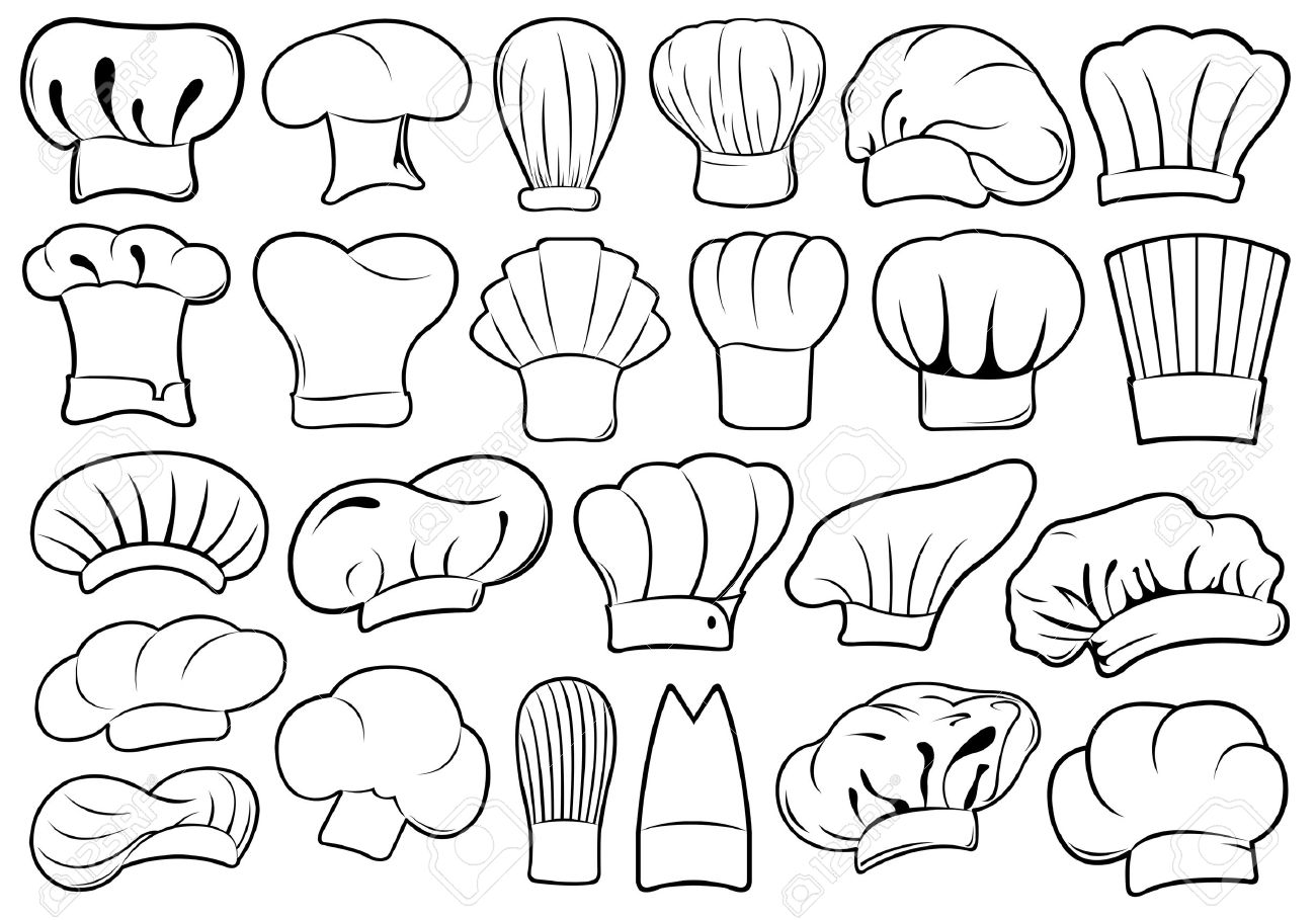 Set of different chef hats isolated on white - 28505099
