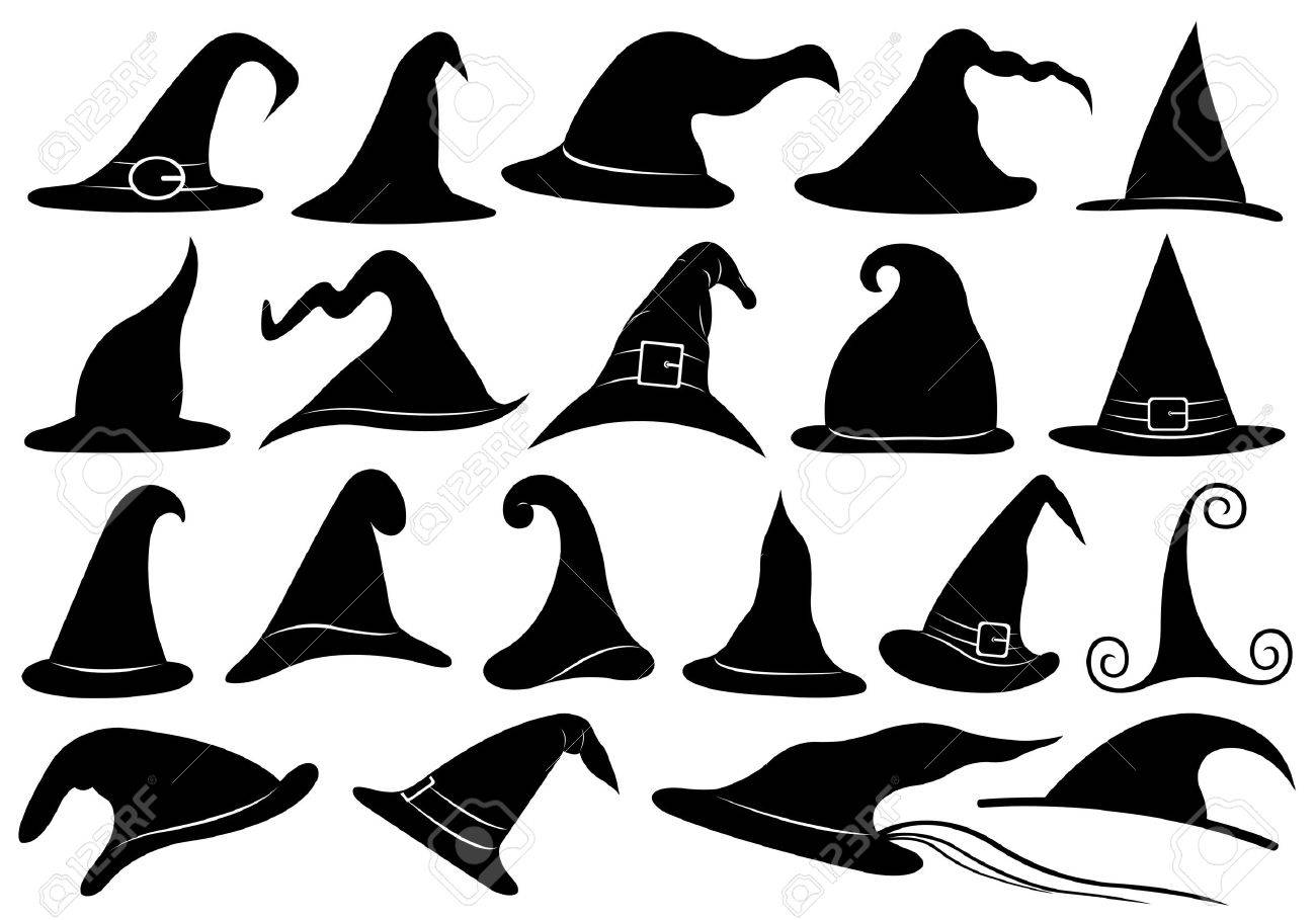 Set of different witch hats isolated on white - 28517708
