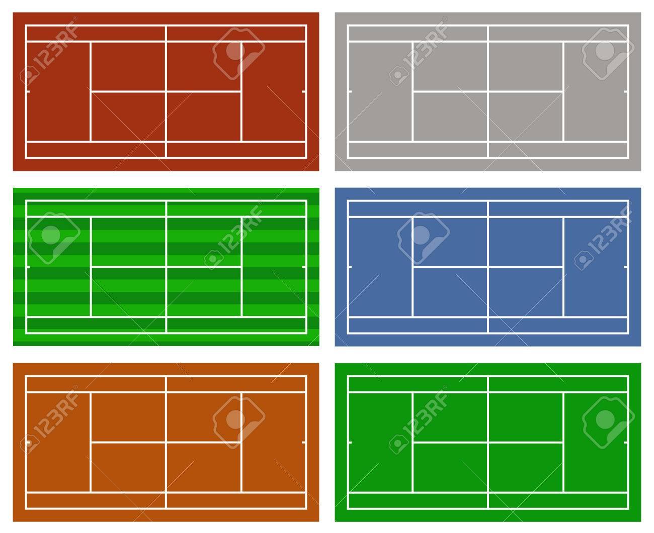 白で隔離異なるテニスコートのイラストのイラスト素材ベクタ Image
