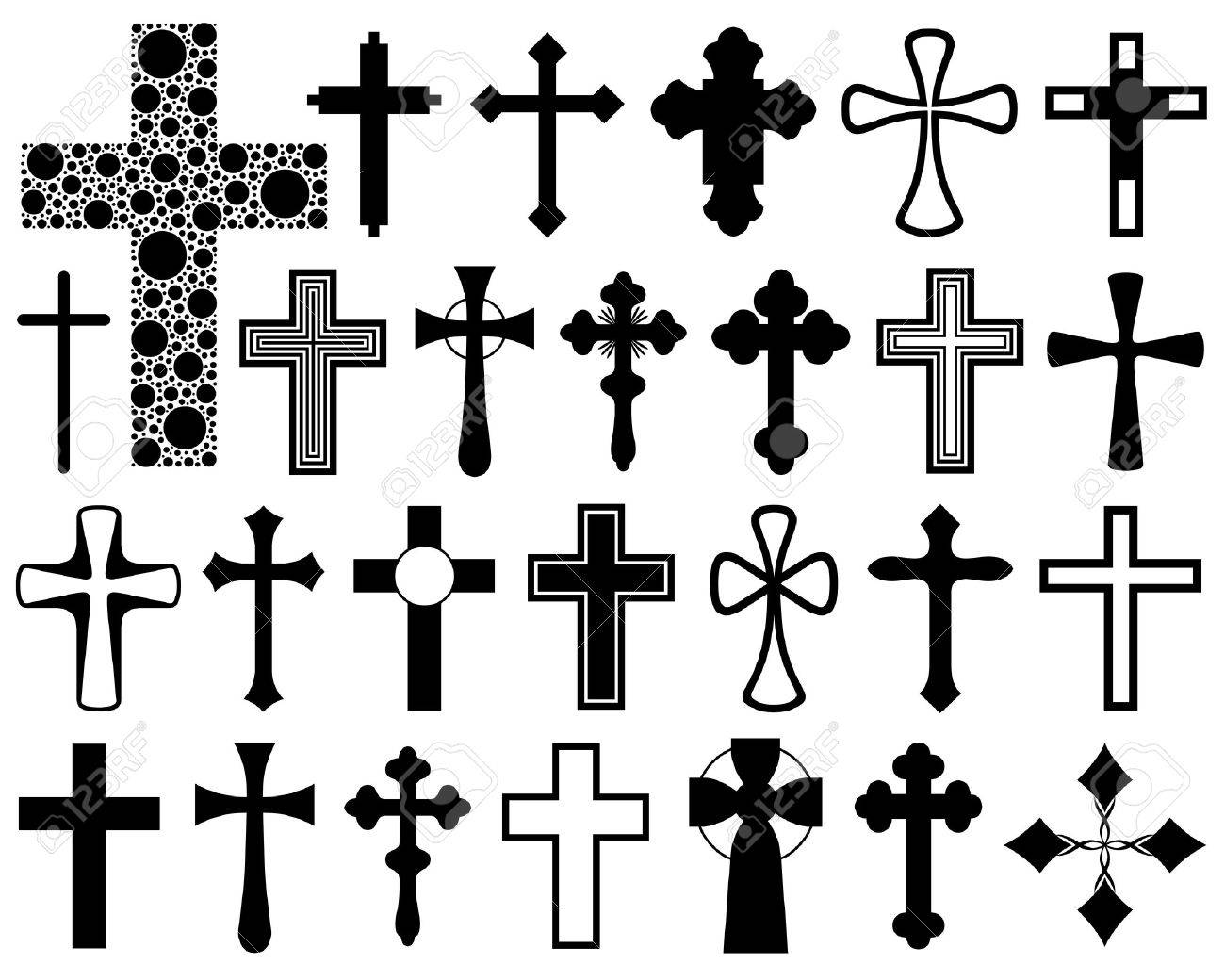 Set of different crosses isolated on white - 37238041