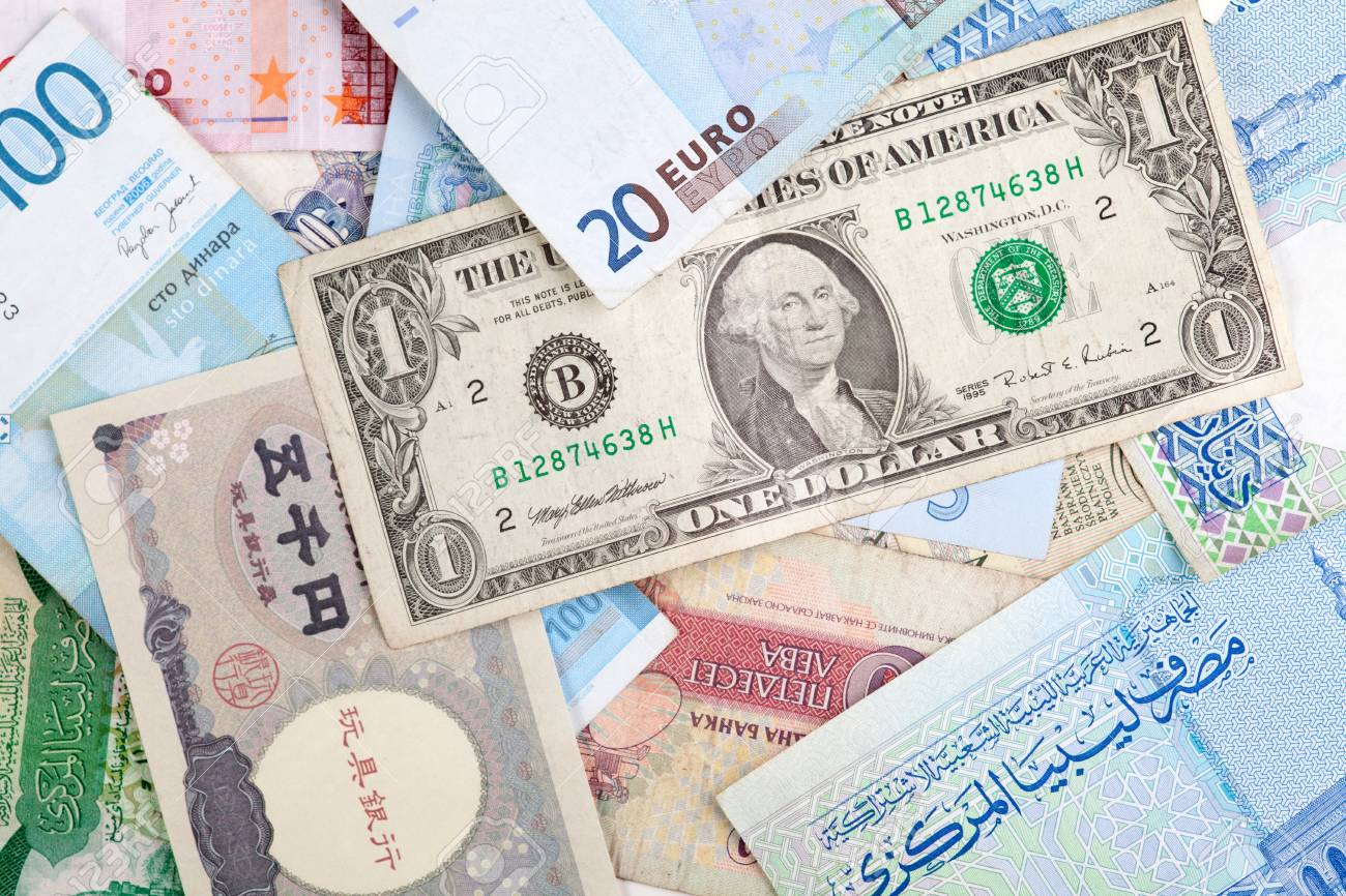 Different banknotes  World Paper Money background