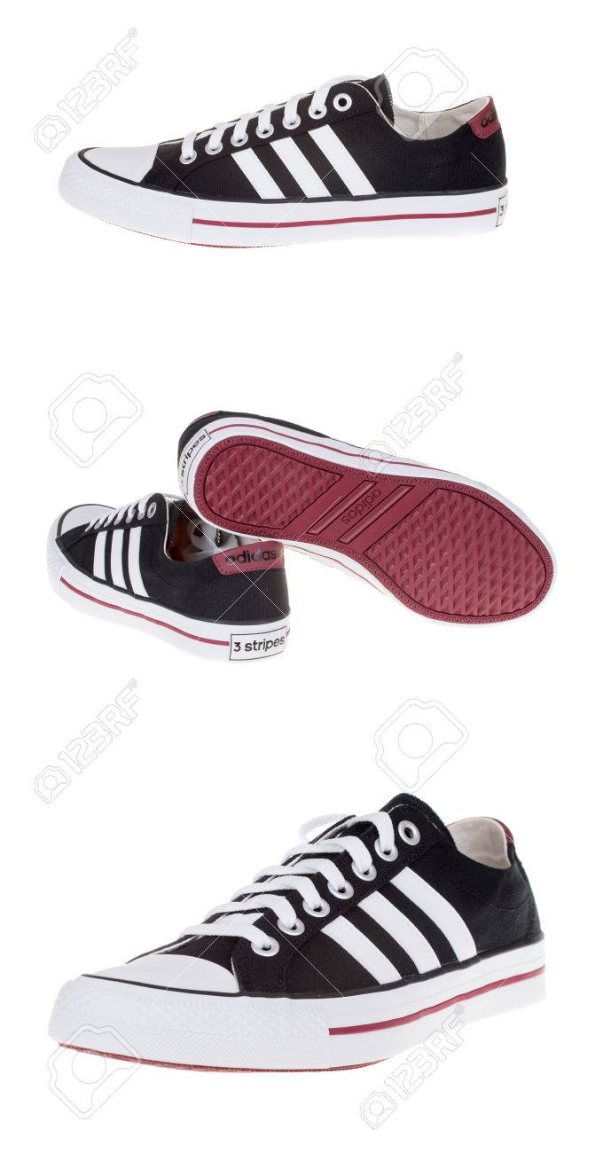 d6bef5617281e Stock Photo - Varna , Bulgaria - OCTOBER 1, 2014 :ADIDAS VLNEO 3 STRIPES  shoes in 3 different view. Isolated on white. Product shots