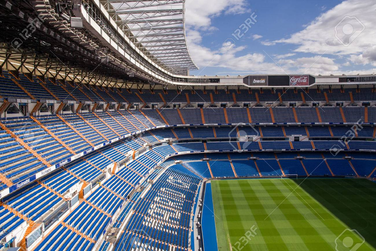 MADRID, SPAIN - MAY 14, 2009: Santiago Bernabeu Stadium of Real Madrid on May 14, 2009 in Madrid, Spain. Real Madrid C.F. was established in 1902. It is the best club of XX century according to FIFA. - 59579084