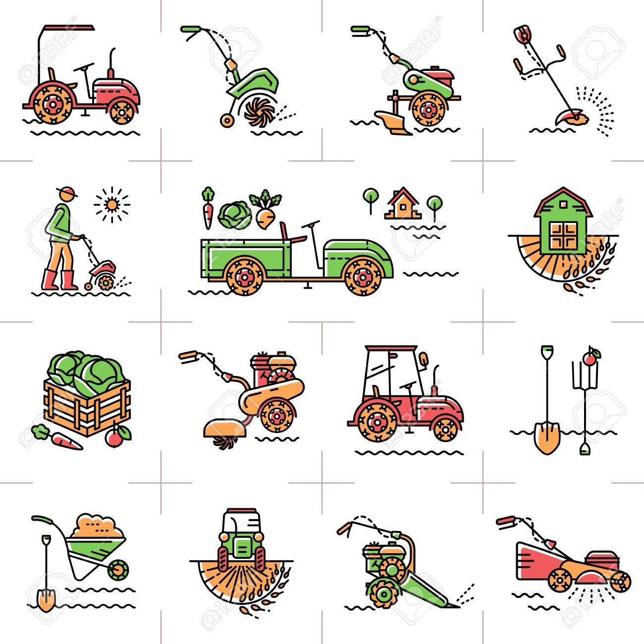 Agriculture, machines agricoles, outils de jardin, matériel de jardinage:  talles cultivateurs mini tracteur. Un ensemble de ligne colorée icônes art  ...