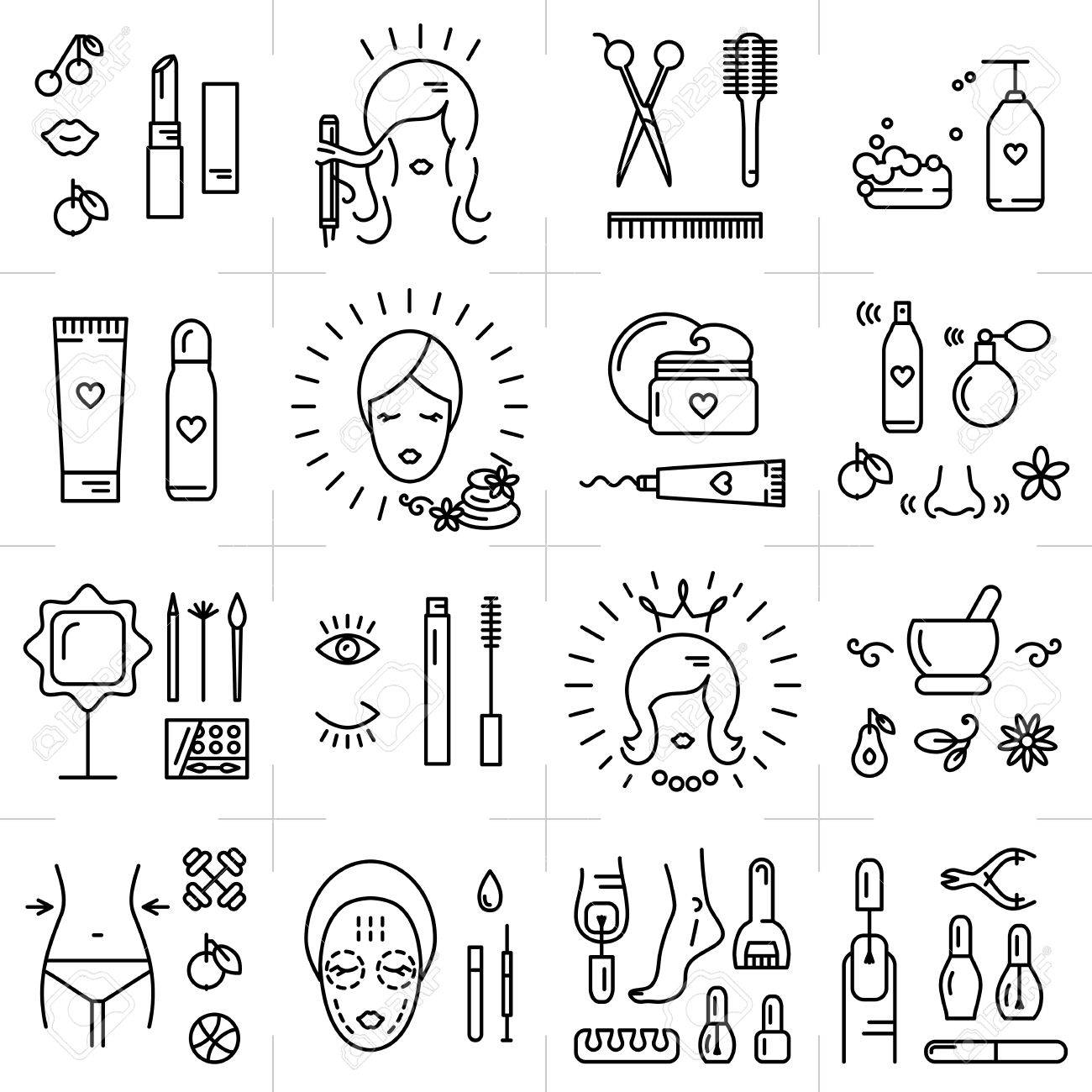 Modern icons set of cosmetics, beauty, spa and symbols collection made in modern linear vector style. Perfect design element for the cosmetics shop, a hairdressing salon, cosmetology center - 55428187