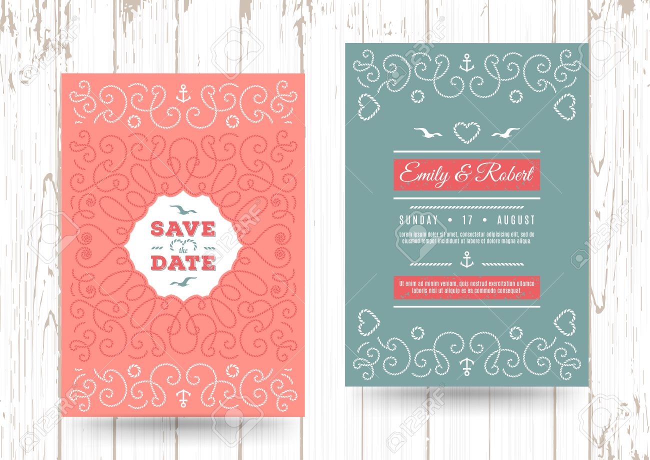 Wedding Invitation Card Template, Nautical Save The Date Cards ...