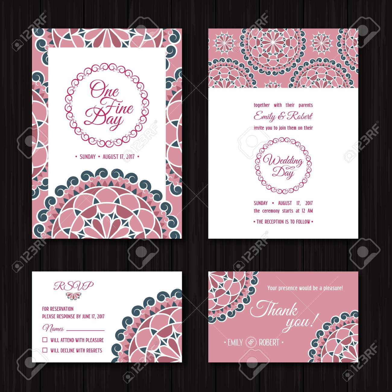 Wedding Invitations Sets Save The Date And RSVP Cards Elegant