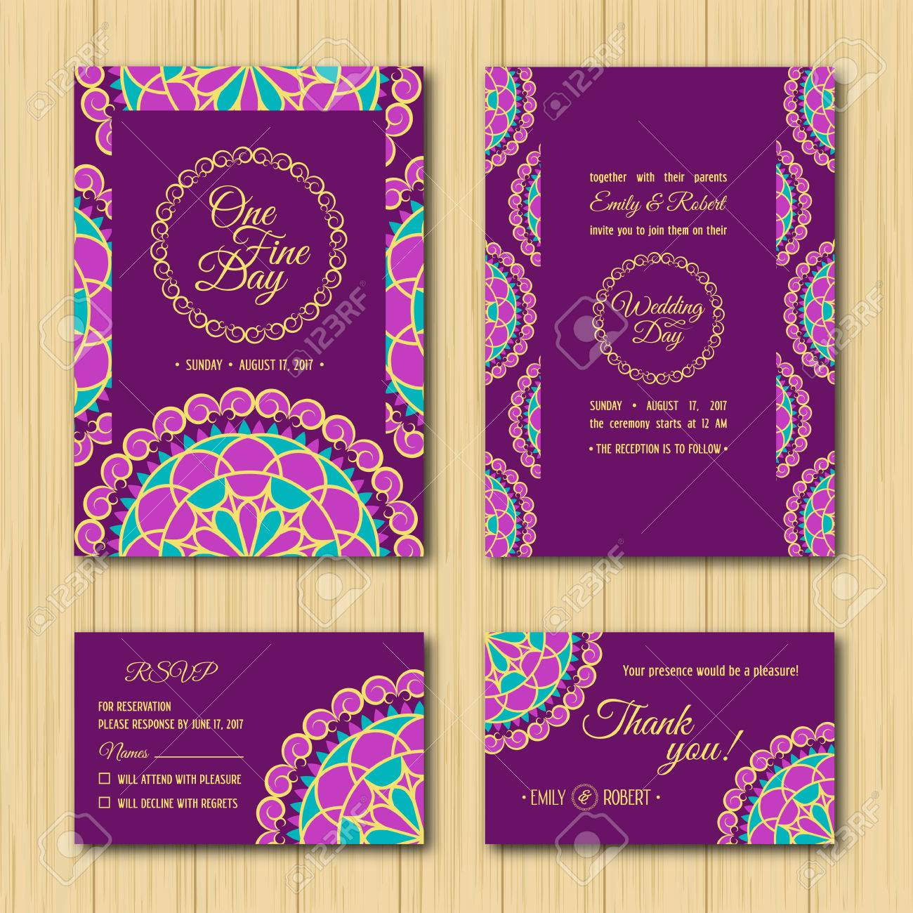 Wedding Invitations Sets: Save The Date And RSVP Cards. Turquoise ...