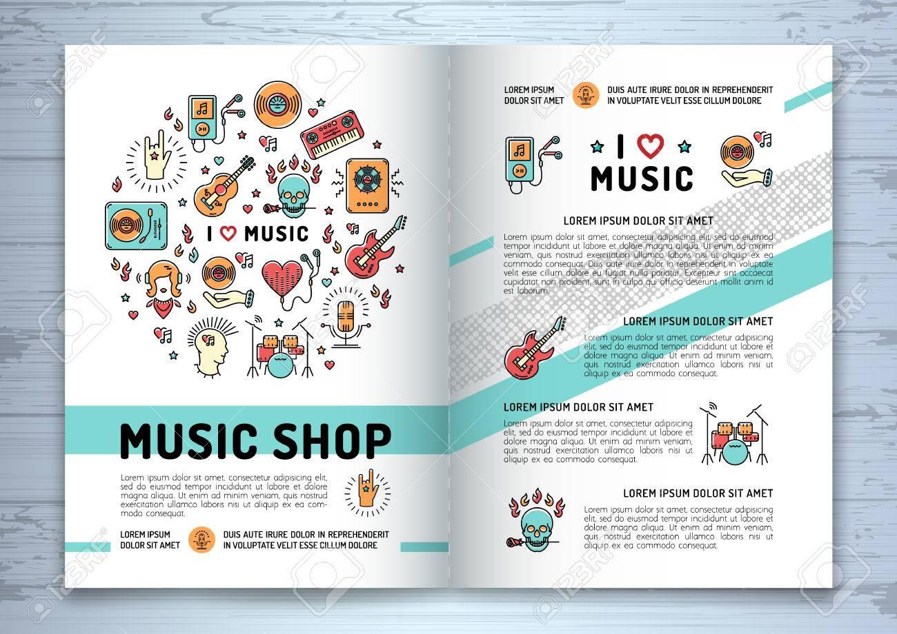 Musik-Broschüre Vorlage A4-Format. Musik Infografiken, Modische ...