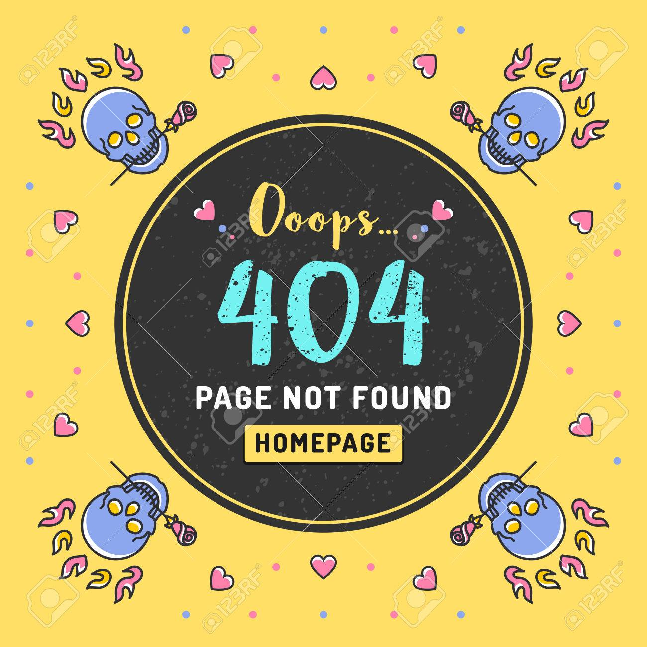 Page Not Found Error 404, Web Template. Vector Illustration Of ...