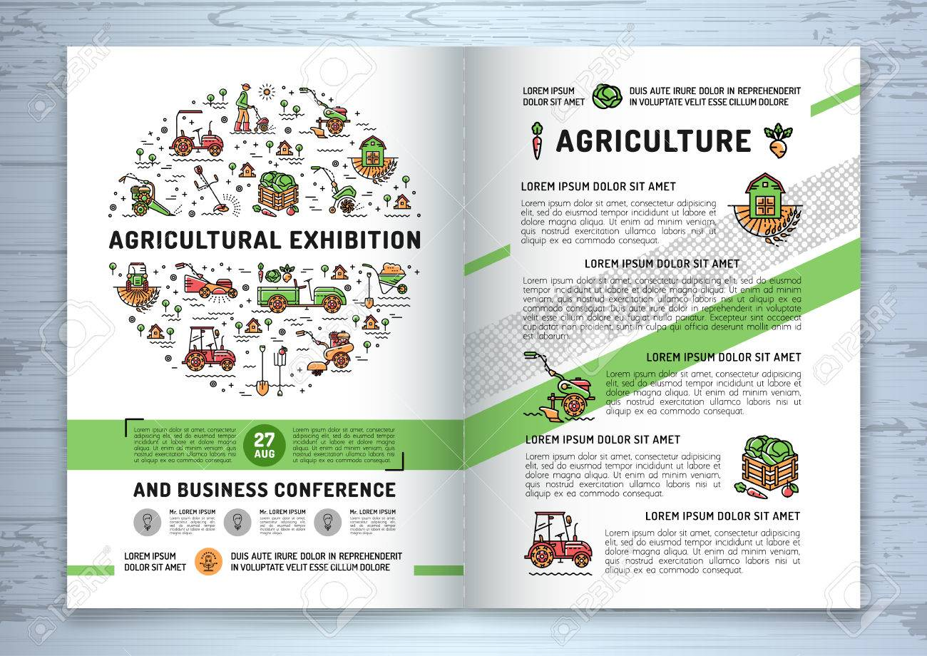 agricultural exhibition business brochure design template flyer or card vector agriculture and gardening circle