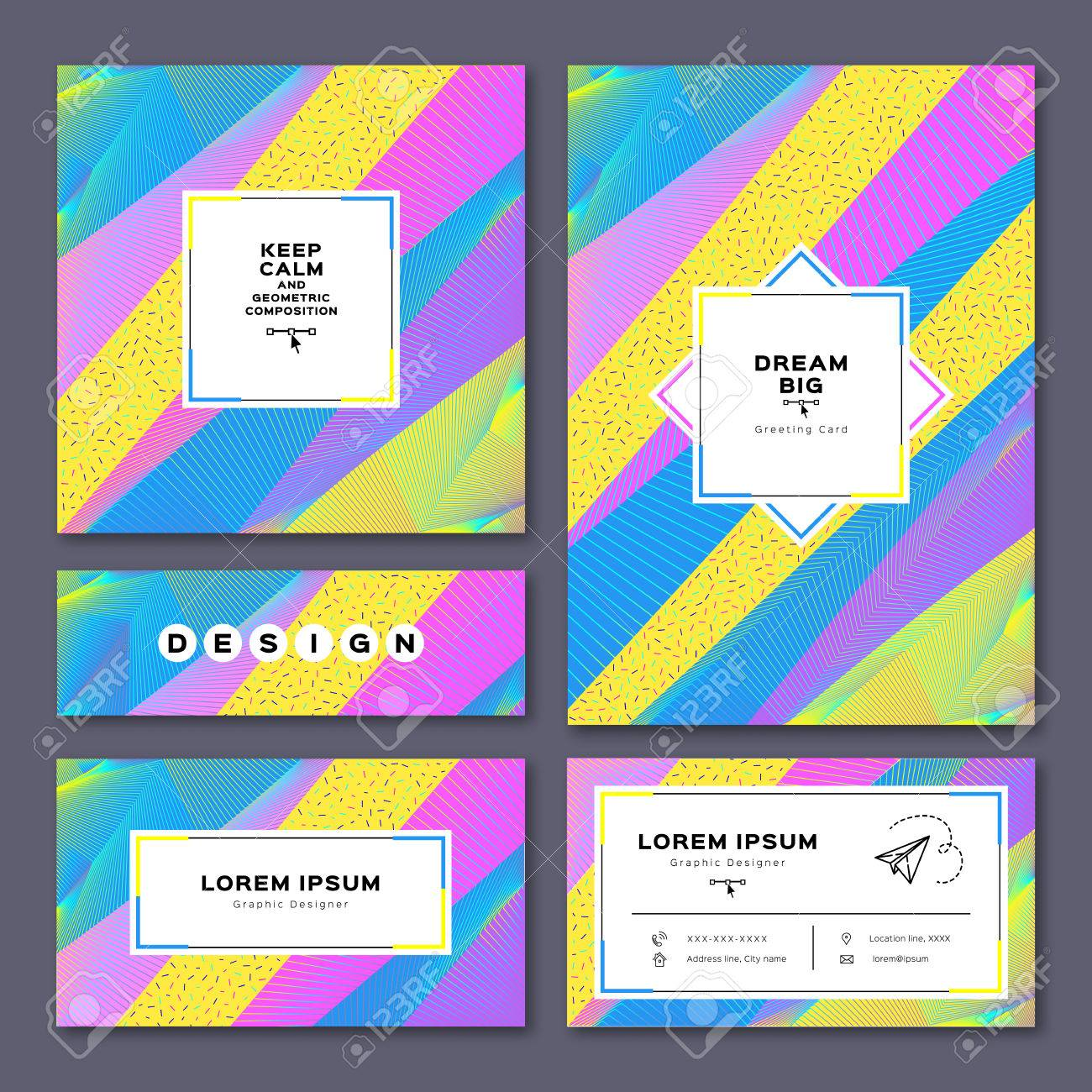 Vector collection of creative cards square greeting card a4 vector vector collection of creative cards square greeting card a4 size poster business card flyer or banner colorful geometric background memphis reheart Choice Image