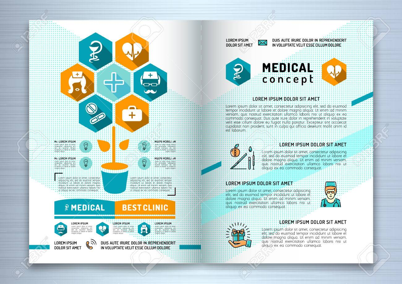 design medical brochure template a4 size linear flat infographics