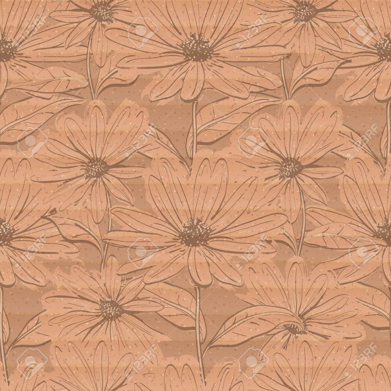 創造的な花の壁紙 段ボールの背景は ヒナギクの手描きの鎮静のシームレスなパターン パステル カラーの繊細な茶色の紙テクスチャ ベクトル イラストのイラスト素材 ベクタ Image