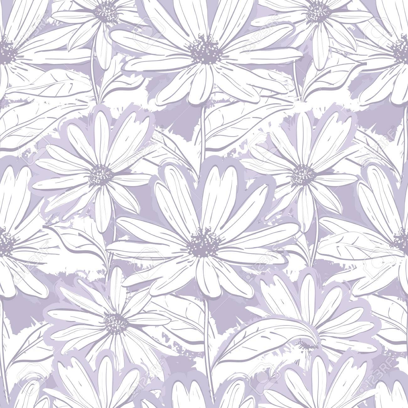 Monochrome Lilac Gray Floral Wallpaper Seamless Pattern Of