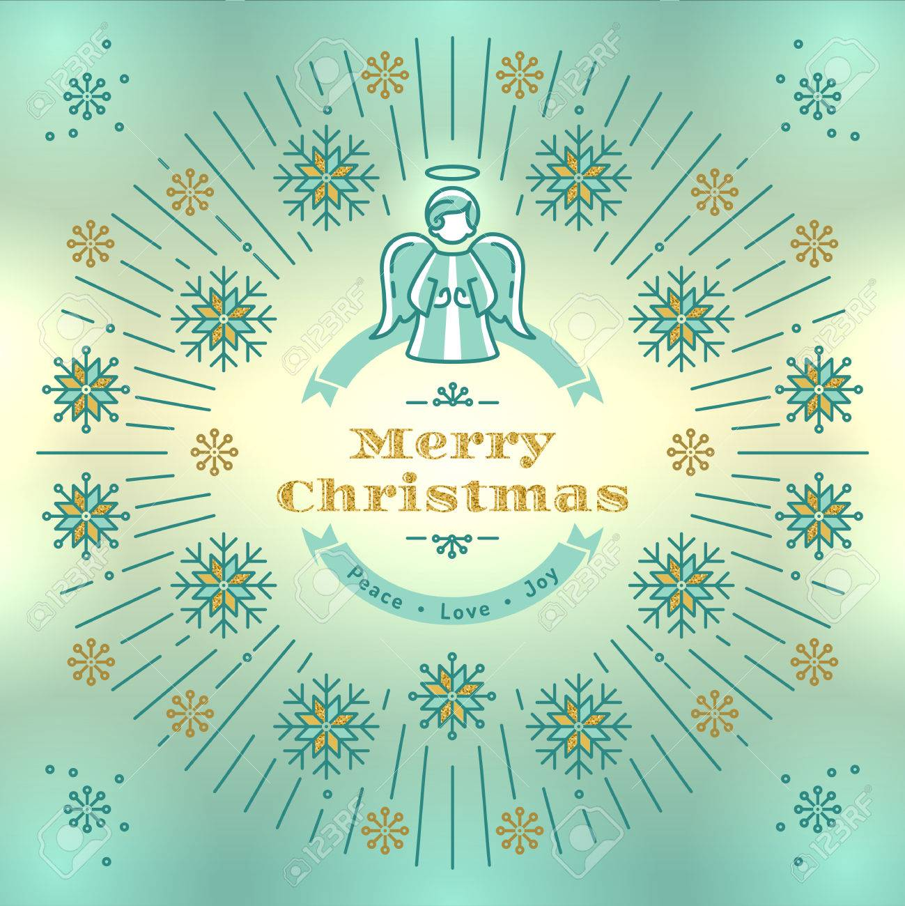 Merry Christmas Greeting Card Angel Xmas Vintage Elegant Background Religious Decoration