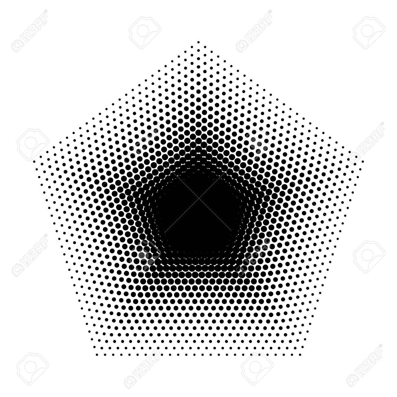 Vector Pentagon Halftone Geometric Shapes Dot Design Abstract Background The Shape With Five