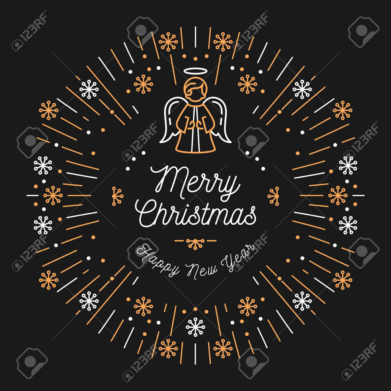 Merry Christmas Religious.Trendy Card Merry Christmas And Happy New Year Minimal Design