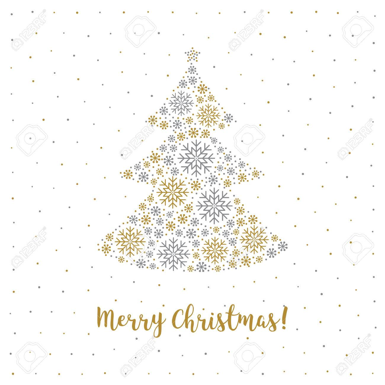merry christmas card in a minimalist style christmas tree made