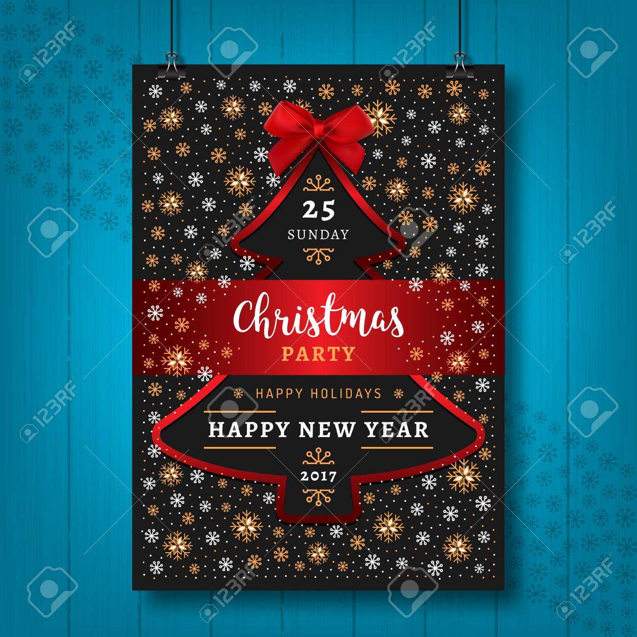 poster party christmas and happy new year card or flyer stock vector 67491240