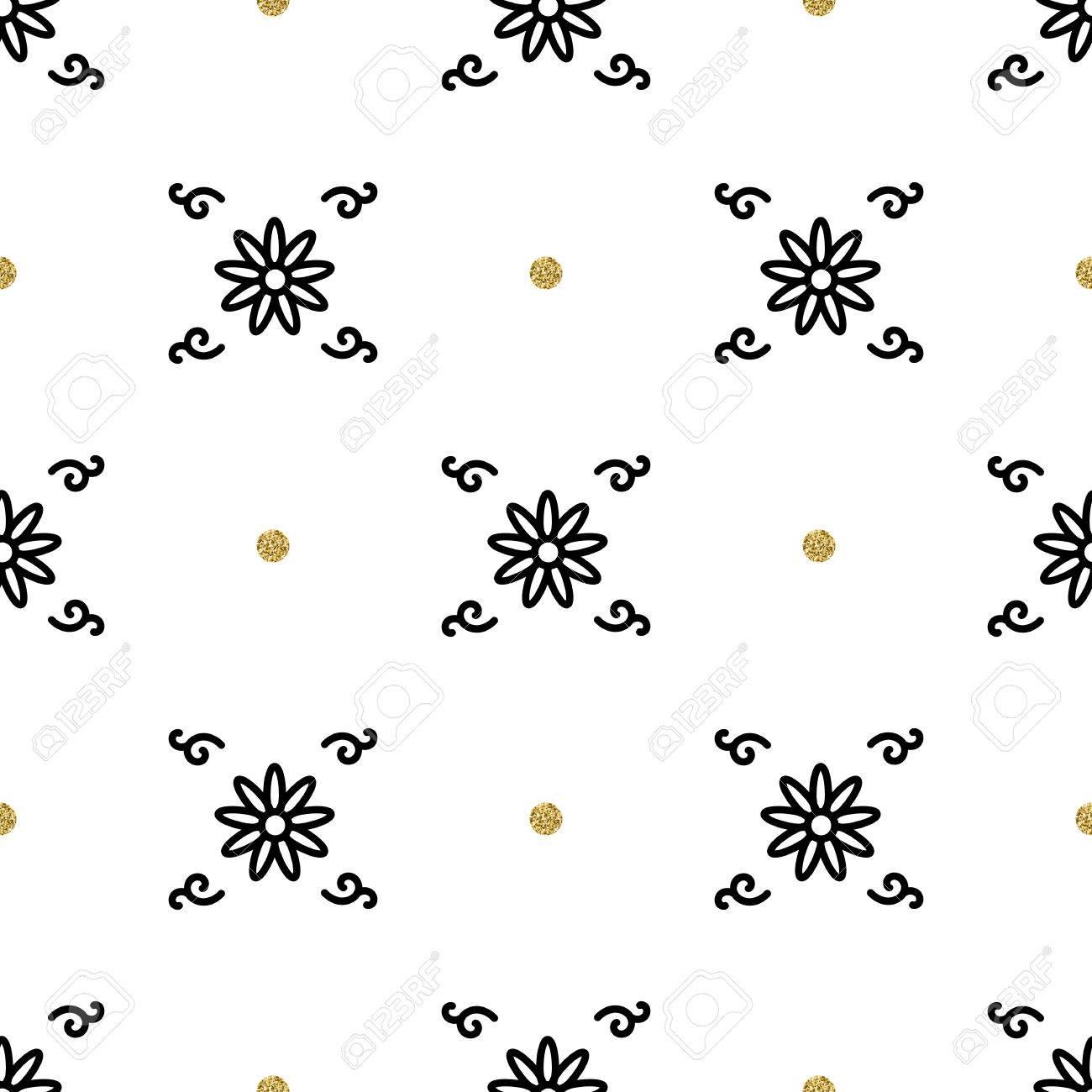 おしゃれな花柄 民族の飾りの解釈 白地に金と黒の要素 アジアのモチーフのシームレスな壁紙 のイラスト素材 ベクタ Image