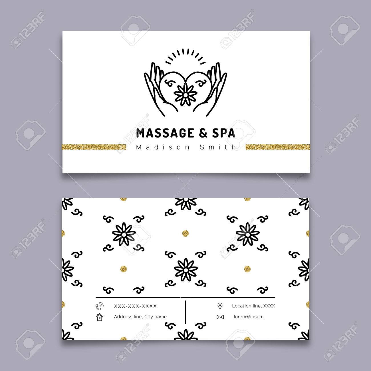 Vector Massage And Spa Therapy Business Card Template. Trendy ...