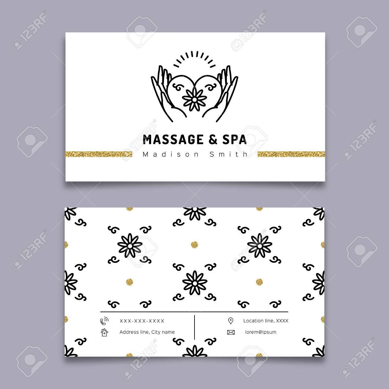 Vector Massage Et Spa Therapie Modele De Carte Visite Trendy Lineaire Icone Mains Tenant Coeur Beaute Detendez Vous La Medecine Naturelle Symboles
