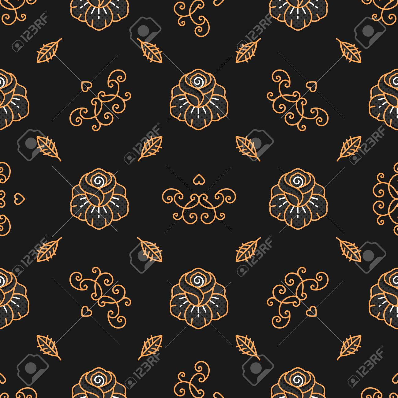 Floral Pattern Seamless Trendy Hipster Background Golden Rose