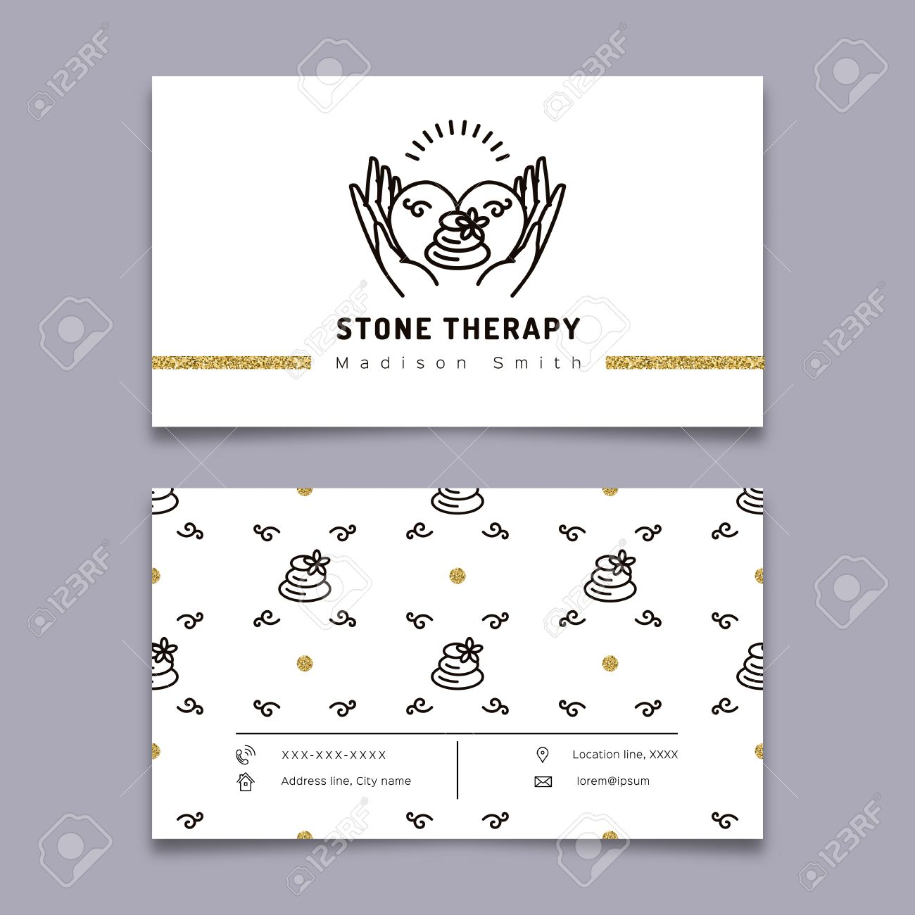 Vector stone therapy business card template stone massage beauty vector vector stone therapy business card template stone massage beauty spa relax and natural medicine thin line symbols business card spa studio accmission Images
