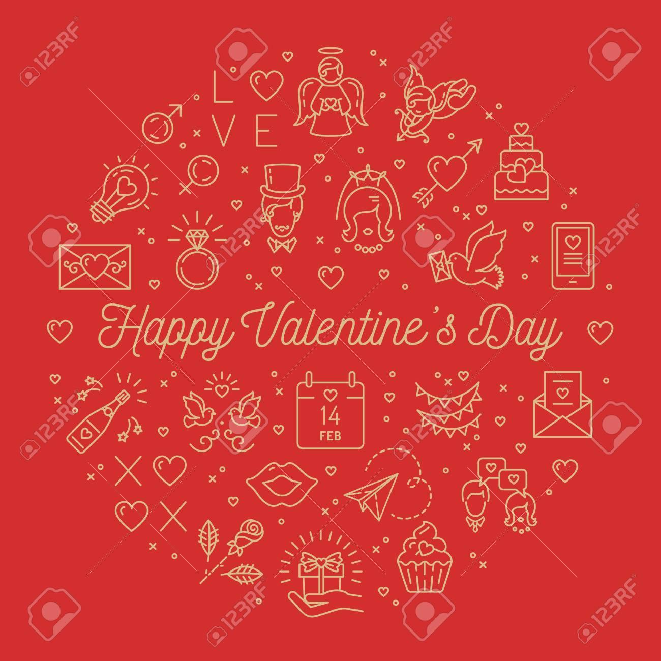 Valentine Line Icons Valentines Day Signs Love Symbols Circle