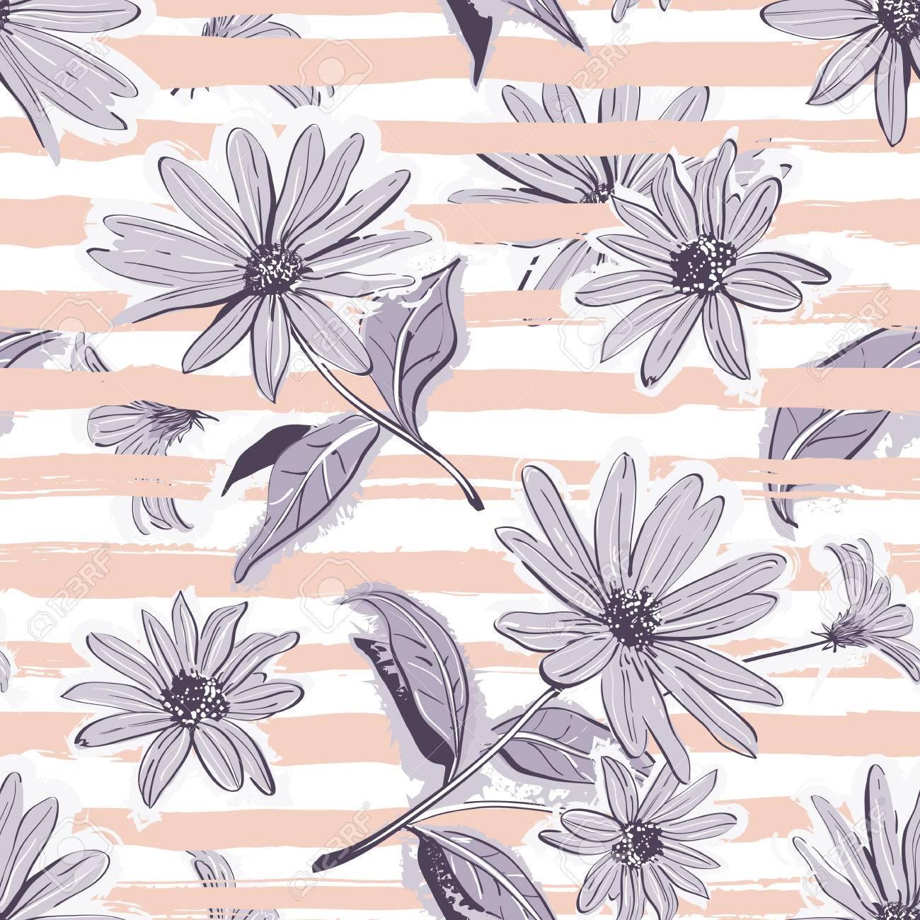 Flower Pattern Seamless Elegant Pastel Striped Background Vintage