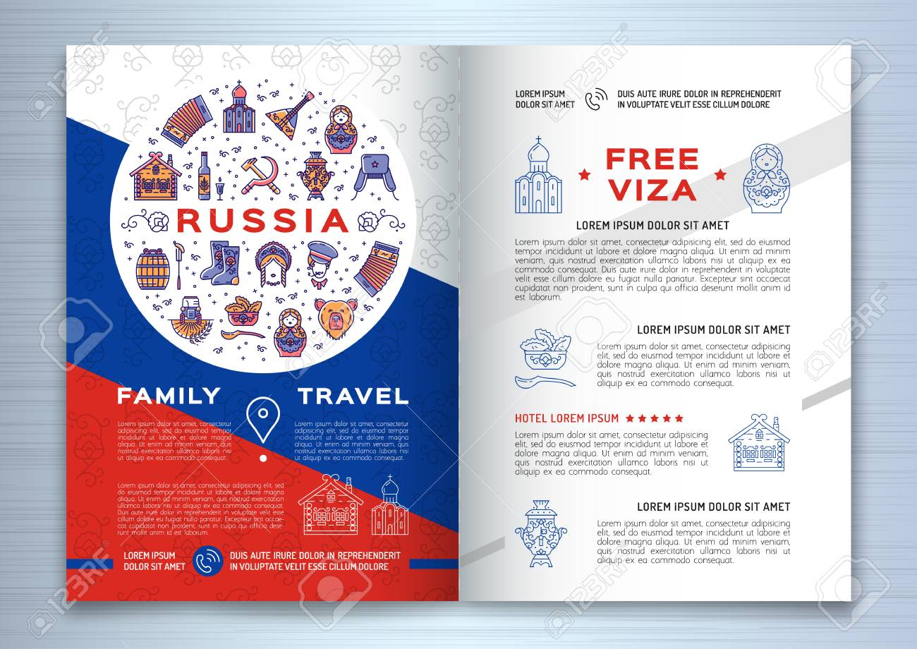 Russian Travel Brochure Template Royalty Free Cliparts Vectors