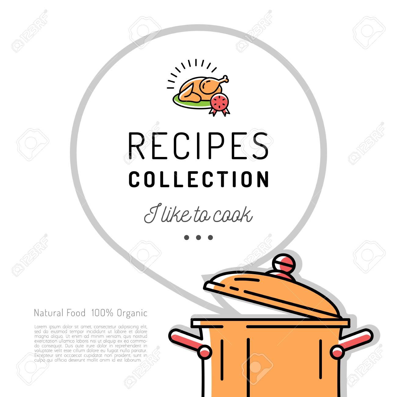 recipe book menu template cookbook cover boiling pot speech