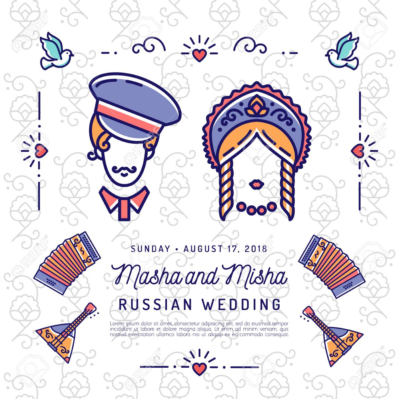 Wedding Invitation Save The Date Card National Wedding Russian