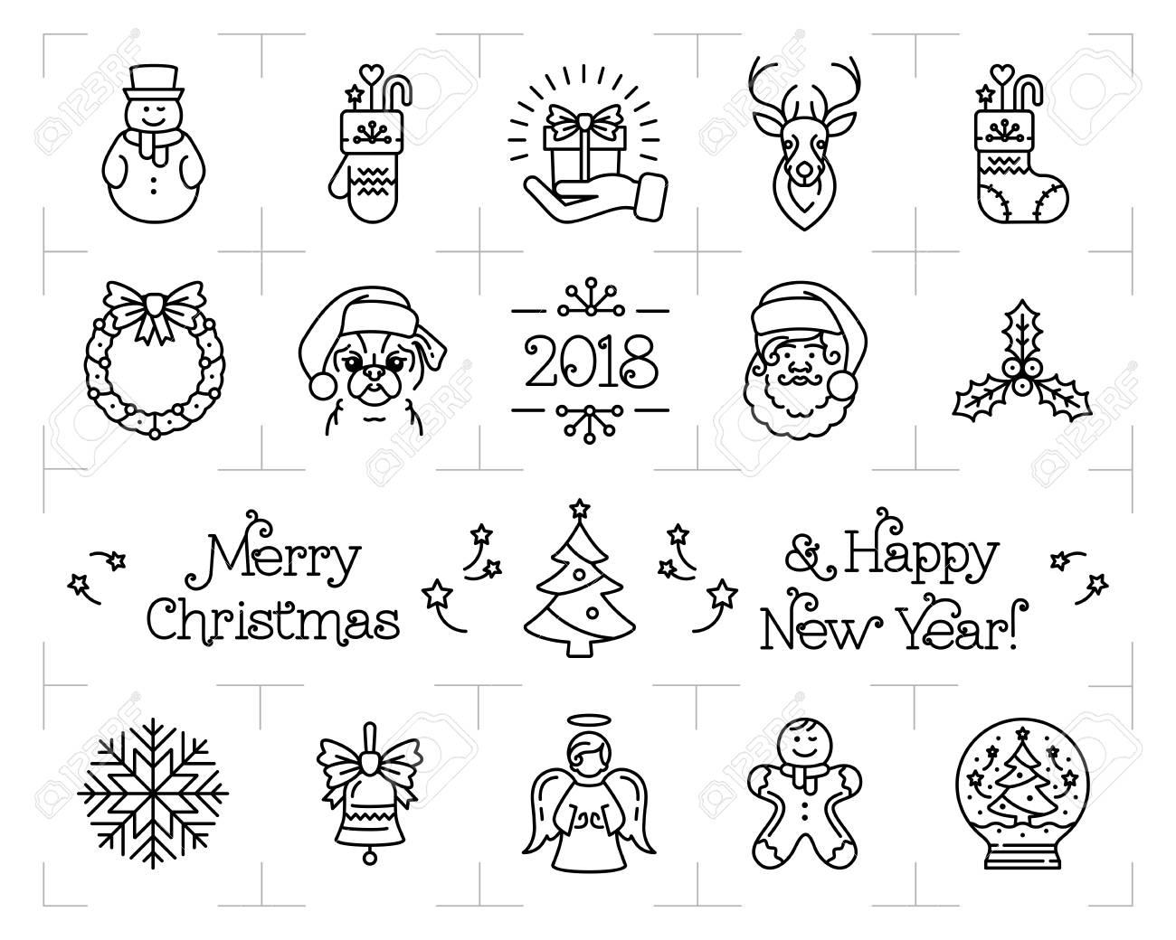 Christmas icons set holiday symbols new year icons chinese christmas icons set holiday symbols new year icons chinese zodiac year of the buycottarizona Images