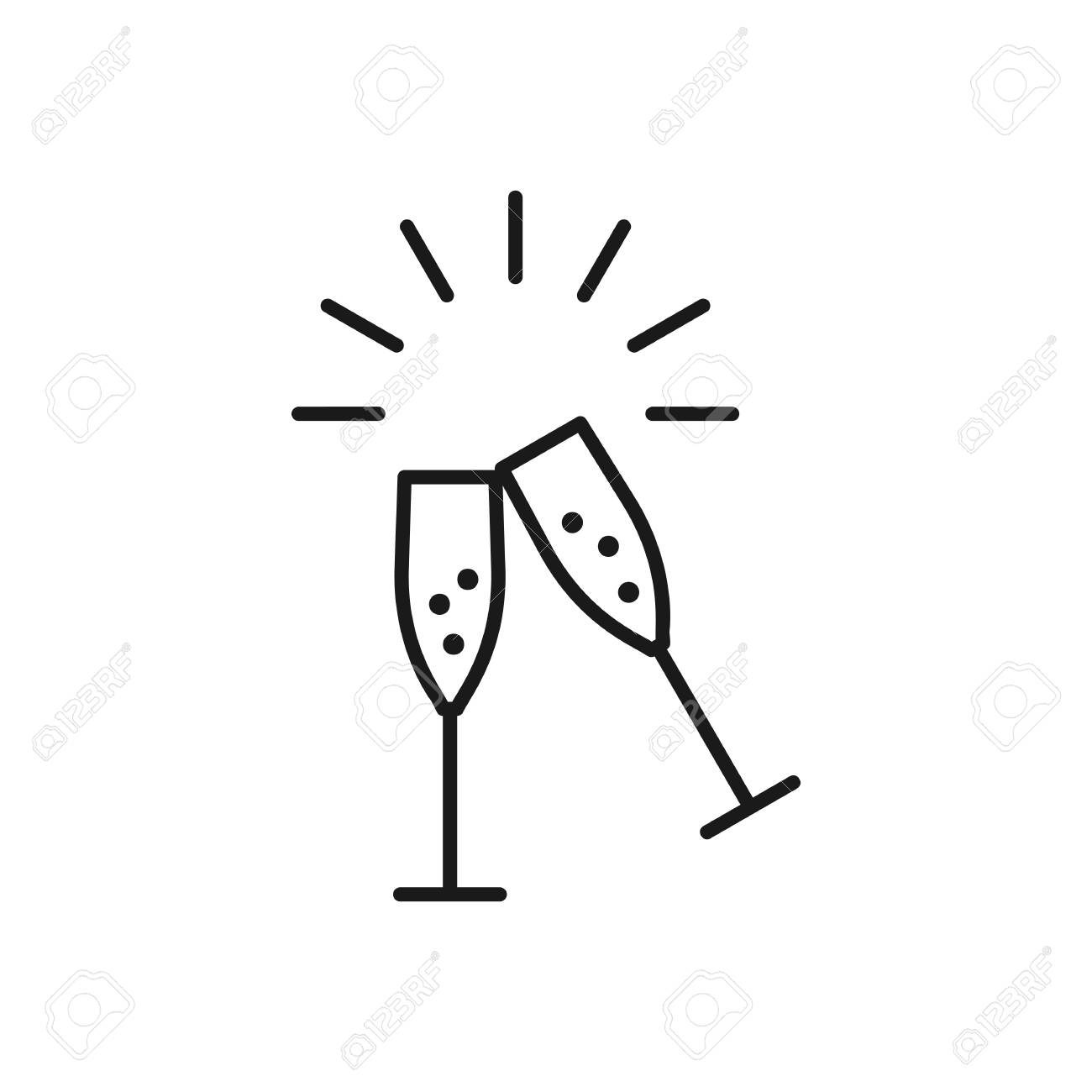 champagne glasses icons wedding toasting wine glasses line rh 123rf com Wedding Clip Art Wedding Bells Clip Art