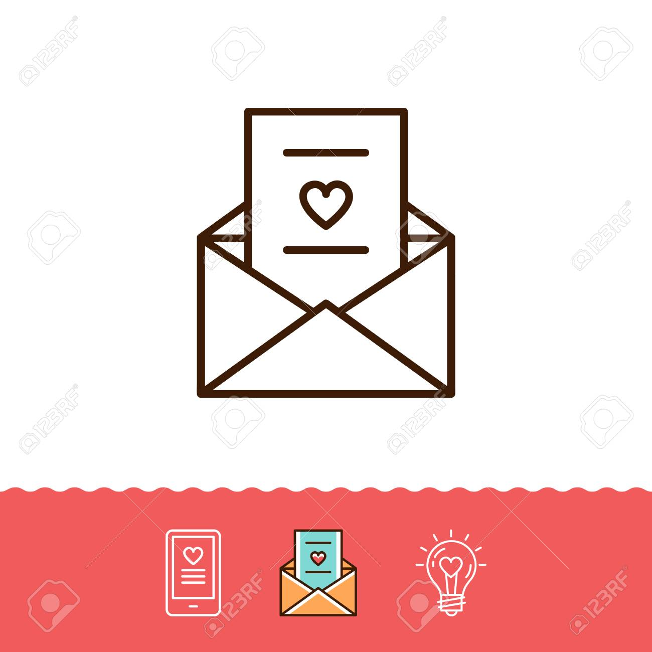Email Icon Love Sms Or Romantic Message Icons Phone Sign Envelope