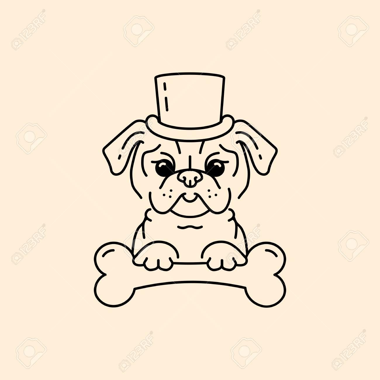 Pug Gentleman Dessin Anime Pug Chien Chien Mignon Dans Le Chapeau