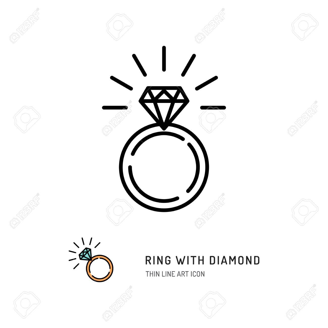 Bague avec diamant icône, fiançailles et bague de mariage. Dessin au trait,  Vector illustration plate