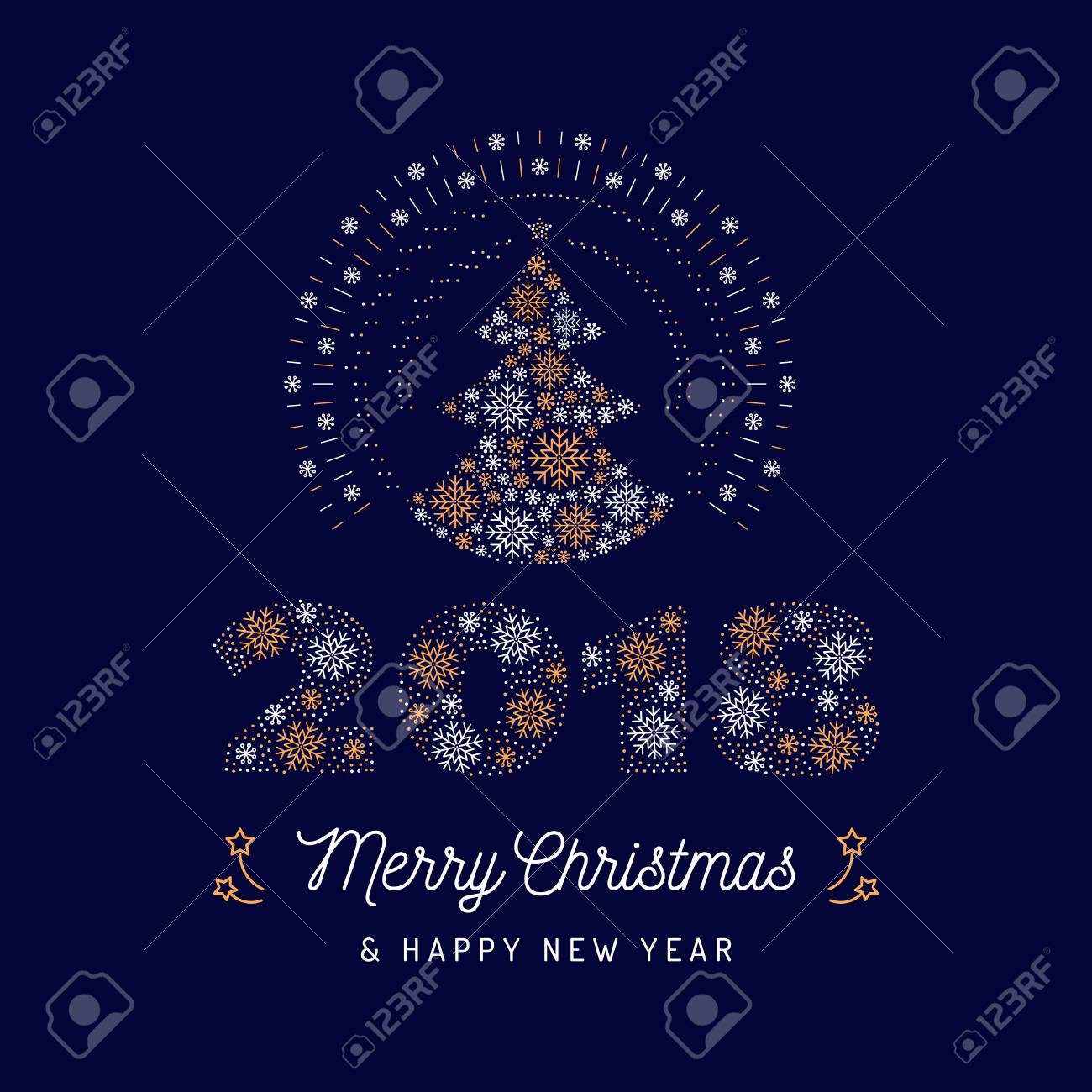 Christmas Card And New Year 2018 Poster. Christmas Tree And Number ...