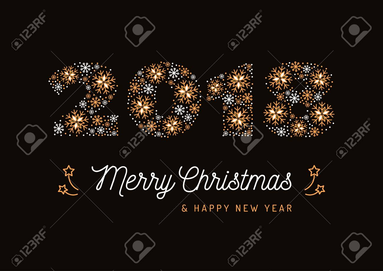 number 2018 made of snowflakes christmas card and new year poster minimal design corporate