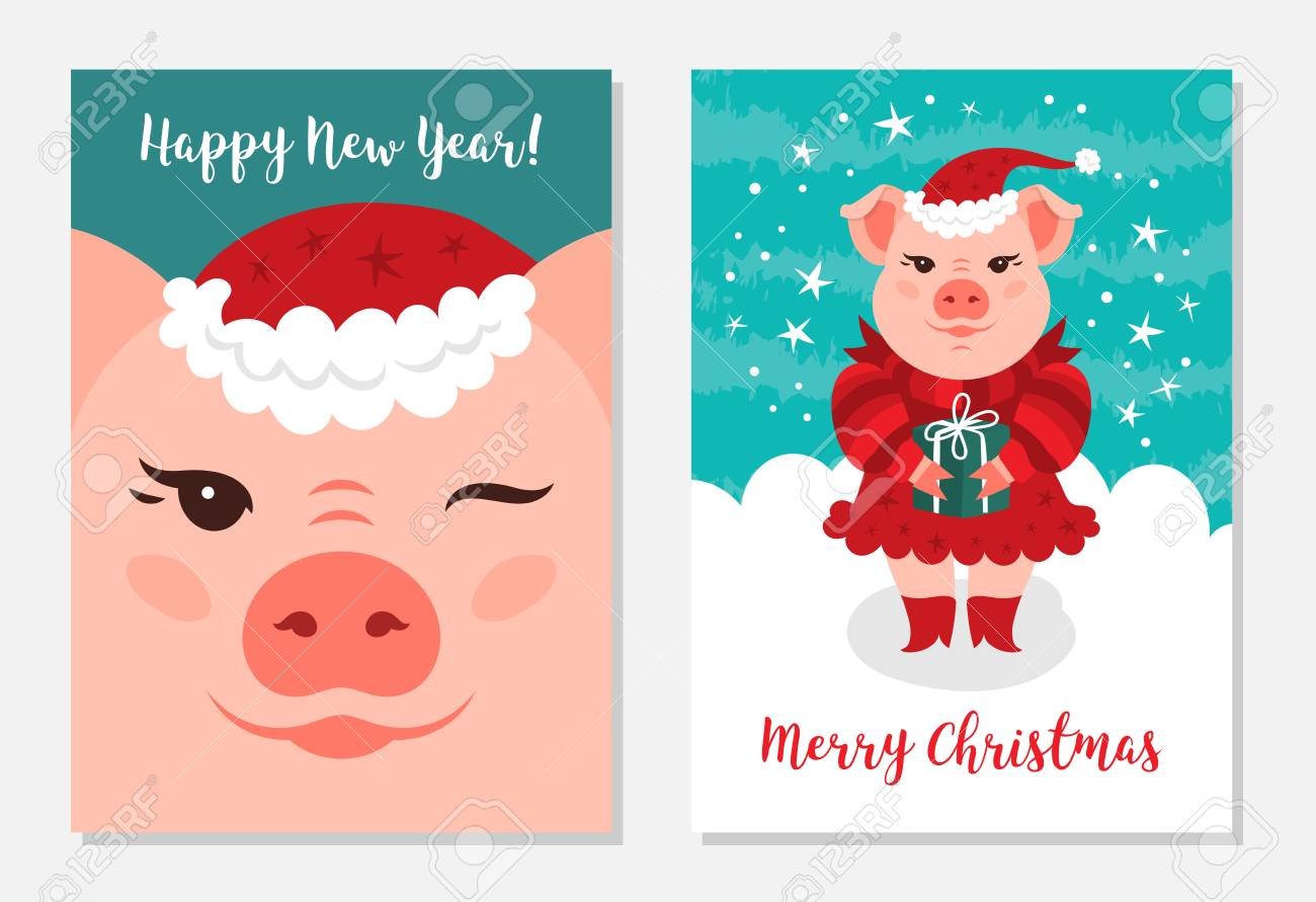 Christmas Pigs.Funny Christmas Pigs Greeting Cards Merry Christmas And New