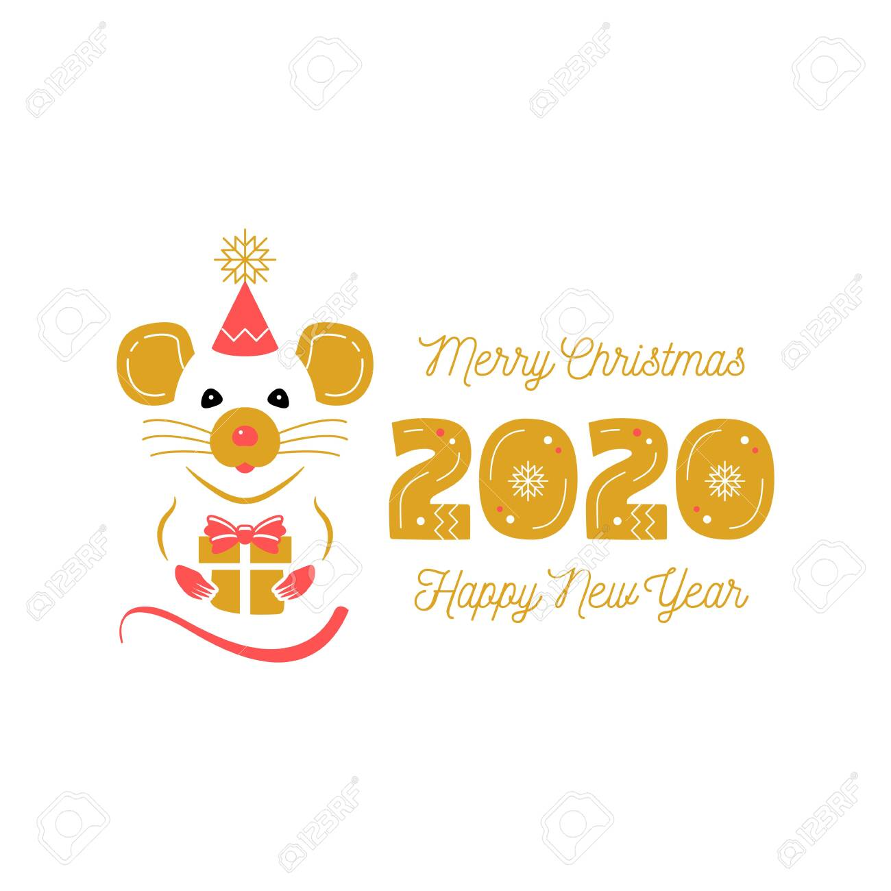 Christmas Card Greetings.Year Of The Rat 2020 Chinese Zodiac Christmas Card And Happy