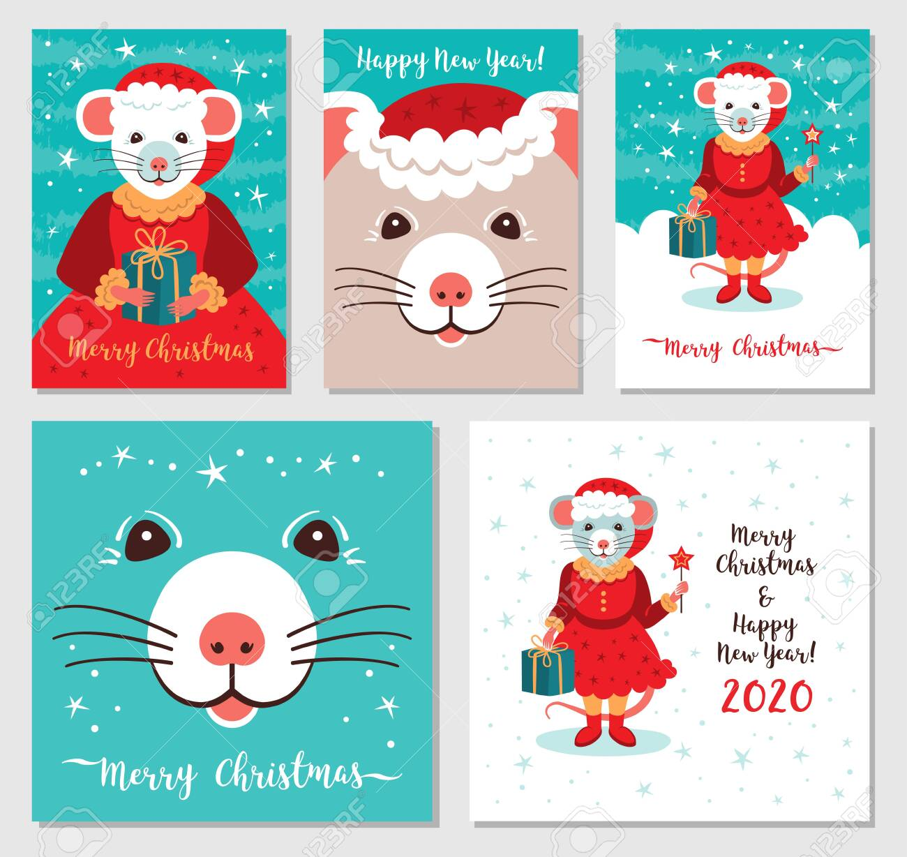 Funny Christmas rats, Greeting cards Merry Christmas and New..