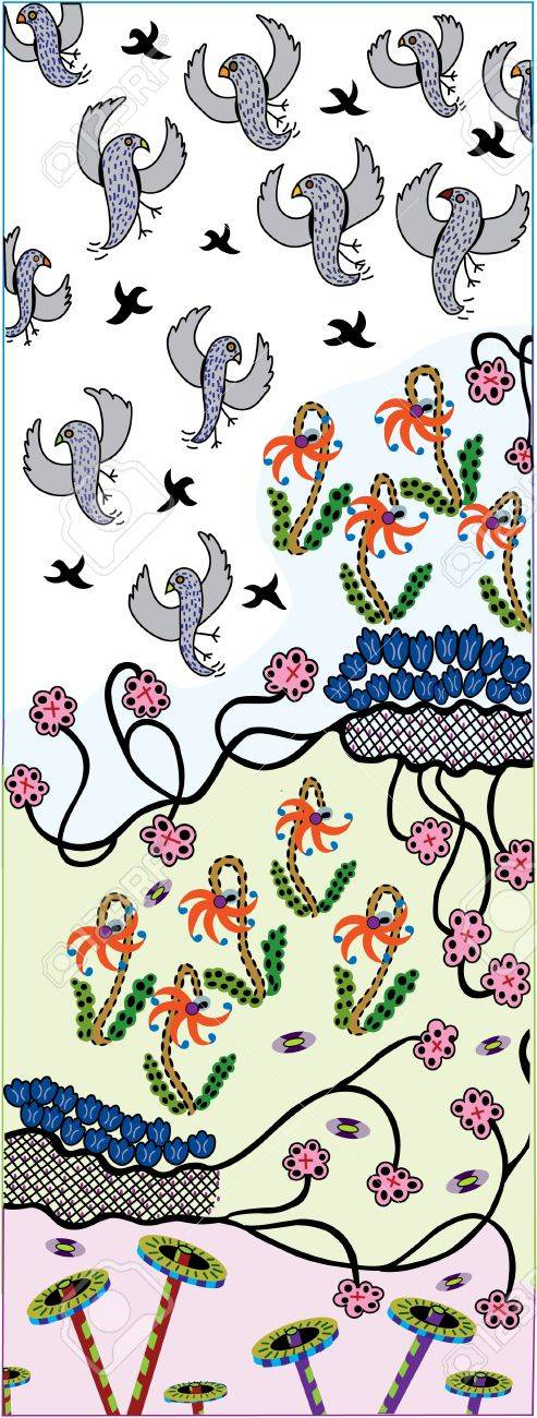 Rising Birds  - Pattern - Vector Drawing Stock Vector - 21585124