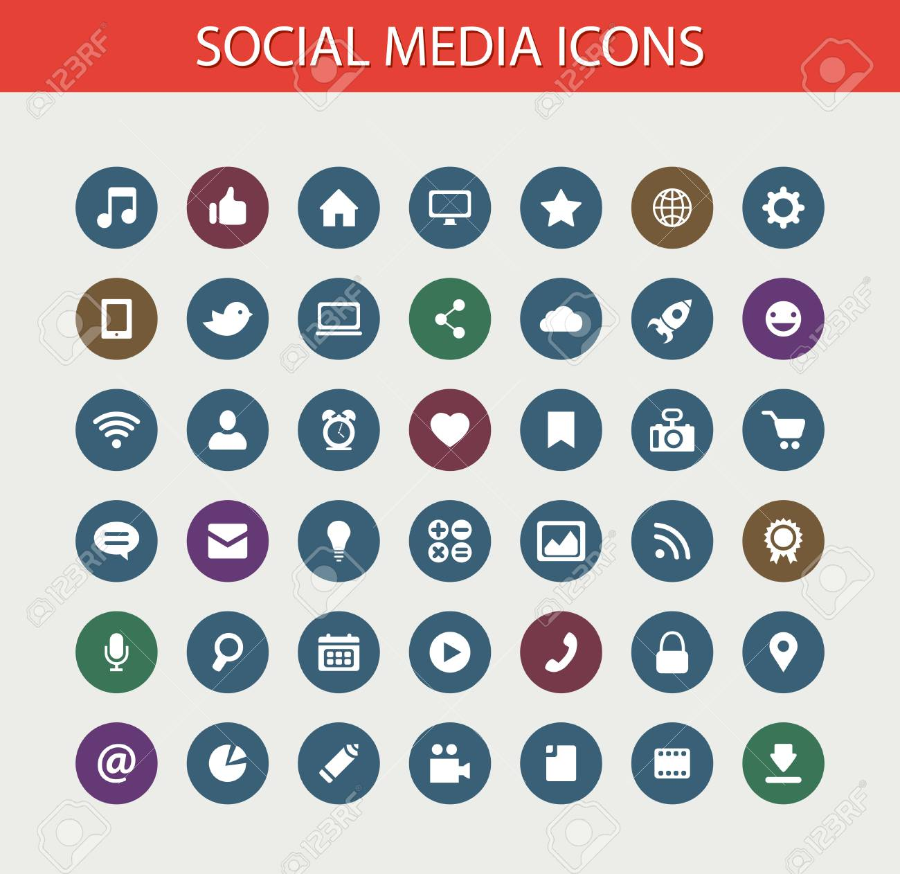 Set Of Vector Modern Flat Design Social Media Icons Royalty Free Cliparts Vectors And Stock Illustration Image 31457493