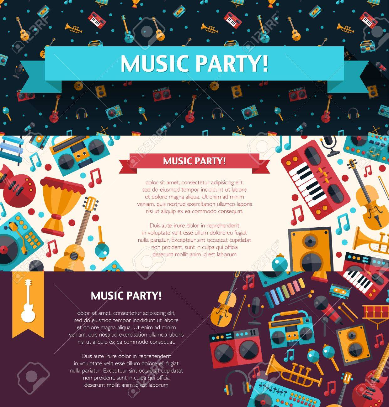 illustration of vector modern flat design decorative invitation illustration of vector modern flat design decorative invitation flyer template musical instruments and music tools