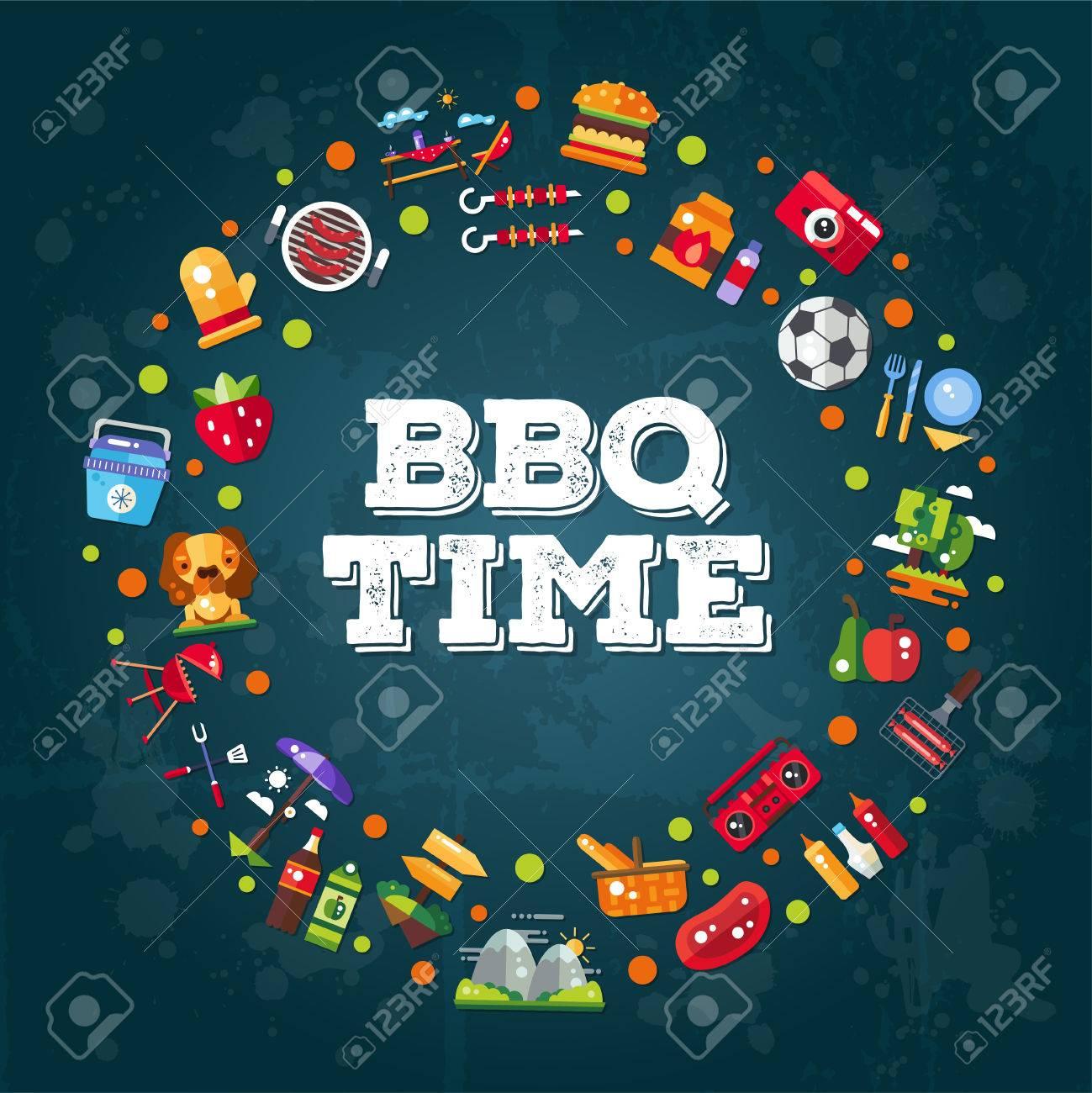 Invitation template of vector flat design barbecue and summer invitation template of vector flat design barbecue and summer picnic icons and infographics elements stock vector stopboris Images