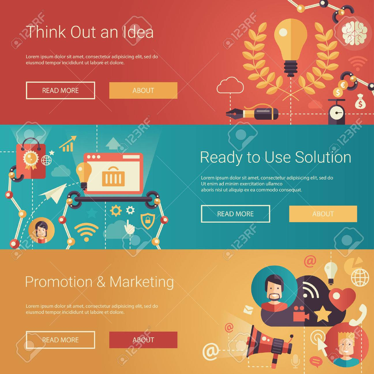 Set of modern flat design business headers with icons and infographics elements. Conceptual banners of idea, solutions, promotion and marketing - 44626024